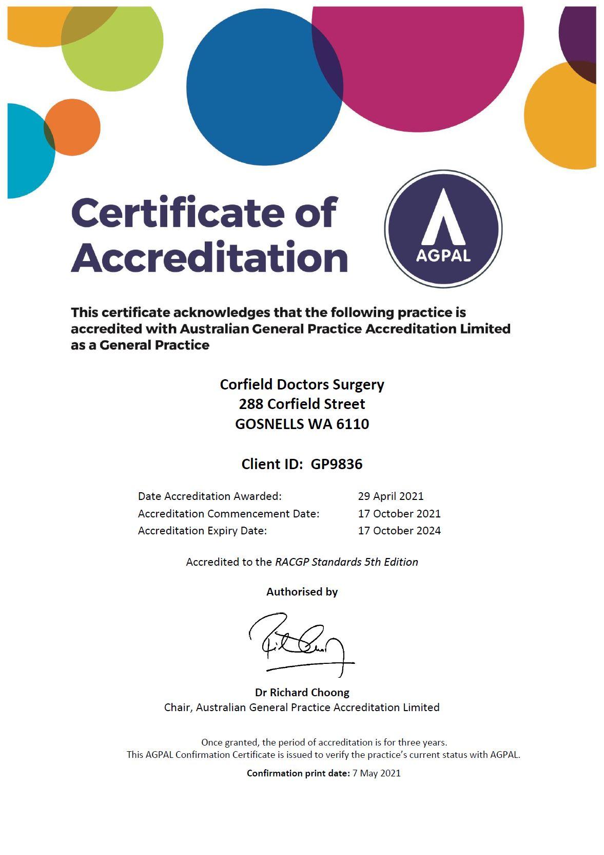 Accreditation Certificate CDS